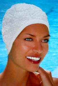 Obrázek pro výrobce 3102 Latexová koupací čepice s ornamenty pouze bílá